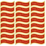 Creative Die cut HAPPY CHRISTMAS Greeting Sentiment Banners Red & Gold