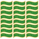 Creative Die cut HAPPY CHRISTMAS Greeting Sentiment Banners Green & Gold