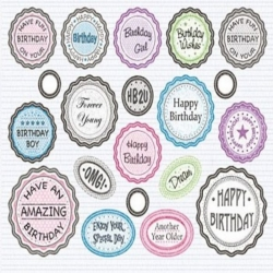 Die cut BOTTLE TOP Banners & Sentiments, BIRTHDAY MIX Assorted