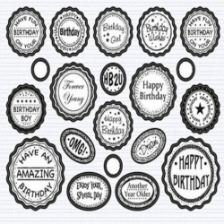 Die cut BOTTLE TOP Banners & Sentiments, BIRTHDAY MIX Black