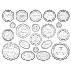Die cut BOTTLE TOP Silver White Banners & Sentiments MIXED CHRISTMAS