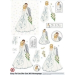3D Die Cut Decoupage & Elements A4, White Wedding