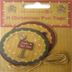 8 Christmas Fun Tags, Gift wrapping or Toppers, Lynette Anderson Designs