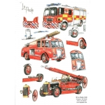 3D Decoupage Sheet FIRE ENGINES Modern and Vintage