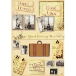 Topper & Sentiments A4 Sheet TRAVELS, GOOD LUCK, BON VOYAGE
