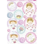 Kanban Sugar Buttons PRINCESS POSIES Die cut Toppers Sheet A4