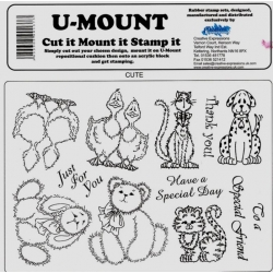 Unmounted Stamp Plate A5, CUTE, Bunny, Teds, dog, cat, back & front Duckies