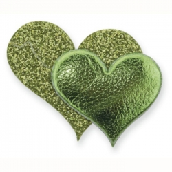 Pack 12 Glitter Double Hearts, Self Adhesive embellishments. LIME,OLIVE GREEN