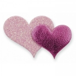 Pack 12 Glitter Double Hearts, Self Adhesive embellishments. PINK