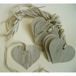 12 Rustic Country Heart Tags, Strung.  Wood Effect (Original)