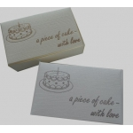 10 Cake Boxes 'A piece of cake - with love' in Natural White Silk & silver