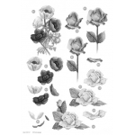 3D Die Cut Decoupage Sheet, FLORAL Peonies & Roses, Black & White