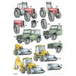 3D Die Cut Decoupage Sheet TRACTORS, LAND ROVER, DIGGER