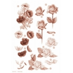 3D Die Cut Decoupage Sheet, FLORAL Peonies & Roses, Sepia & Copper