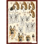 3D Decoupage Sheet. DieCut. DOGS. (No.619)