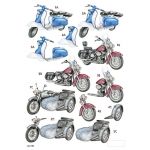 3D Die Cut Decoupage Sheet MOTORCYCLES Scooter, Motorbike, side car