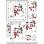 3D Die Cut Decoupage & Elements A4, Cute Christmas Bear with Snowman