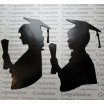 Die cut GRADUATION Silhouettes,  Black Gloss Male/Female