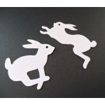 16 Die cut RABBITS, Cute white bunny shapes, perfect for Easter, New Baby & Men's Hunting