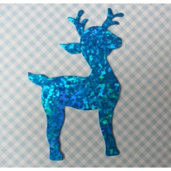 8 Diecut REINDEER Toppers. Blue HOLOGRAPHIC