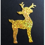 8 Diecut REINDEER Toppers. Gold HOLOGRAPHIC