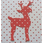 8 Diecut REINDEER Toppers. Red & White POLKA DOT