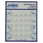 Self Adhesive WHITE 8mm Pearls, Pack of 25