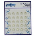 Self Adhesive CREAM 8mm Pearls, Pack of 25