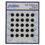 Self Adhesive BLACK 8mm Pearls, Pack of 25