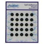Self Adhesive BLACK 8mm Pearls, Pack of 25