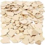 60 Wooden Hearts ASSORTED SIZES 18mm-30mm
