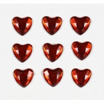 Red Mirror Hearts, Flat Back, Self Adhesive Gems Embellishments