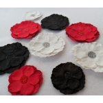 handcrafted Roses, Paper Flowers RED BLACK WHITE rrp £2.99