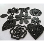 Pack of 10 Wooden Craft Shapes BLACK.  rrp £3.99