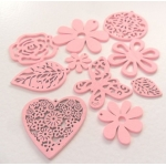 Pack of 10 Wooden Craft Shapes PINK  rrp £3.99
