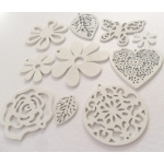 Pack of 10 Wooden Craft Shapes WHITE  rrp £3.99