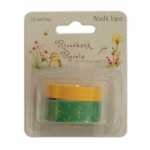 Riverbank Revels 16m WASHI TAPE, Easter Spring Yellow & Green Flower, by Helz Cuppleditch