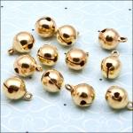 Pack of 10 Metal Jingle Bells 12mm GOLD