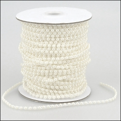 By the Metre, Strung Rounded Pearl Embellishments 4mm WHITE
