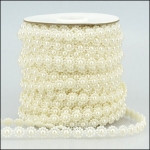 By the Metre, Strung Pearl Flower Embellishments 10mm IVORY