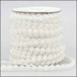 By the Metre, Strung Pearl Flower Embellishments 10mm WHITE