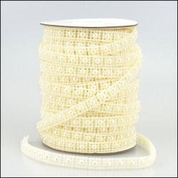 By the Metre, Strung Pearl Square Embellishments 10mm IVORY