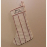 East of India:  Large Cotton Linen Christmas Stocking MERRY CHRISTMAS