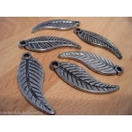 20 Leaf / Feather Pendants 39mm ~Antique Silver~