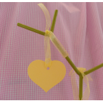 12 Simple Country Heart Tags, with Organza Ribbon.  LEMON SHERBET (Limited Edition!!)