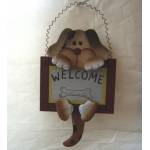 Wooden Welcome Plaque DOG.  Wagging tail
