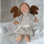 Wooden Guardian Angel, sitting. WHITE