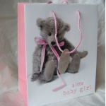 Medium Gift Bag. BABY GIRL. Teddy#1