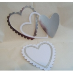 Large Nesting Scalloped HEARTS. Diecut. SILVER & WHITE