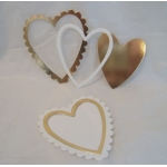 Large Nesting Scalloped HEARTS. Diecut. GOLD & CREAM